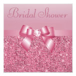 Pink Sequins, Bow & Diamond Bridal Shower Personalized Invitation