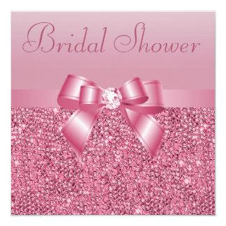 Pink Sequins, Bow & Diamond Bridal Shower Invitation