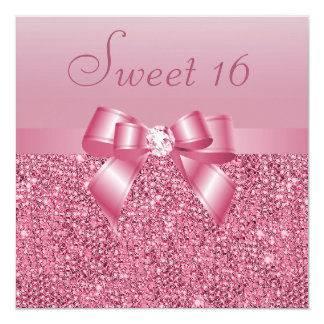 Pink Sequins, Bow & Diamond Sweet 16 Card
