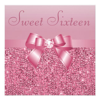 Pink Sequins Bow Diamond Sweet 16 Invite
