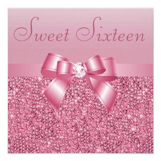 Pink Sequins, Bow & Diamond Sweet 16 Invitation