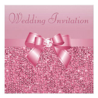 Pink Sequins Bow Diamond Wedding Announcement