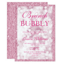 Pink Sequins Brunch & Bubbly Bridal Shower Card