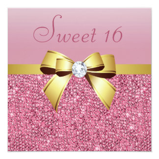 Pink Sequins, Gold Bow & Diamond Sweet 16 Card