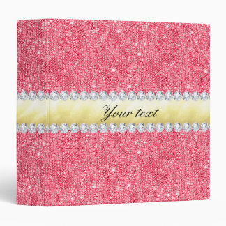 Pink Sequins Gold Foil and Diamonds Binder