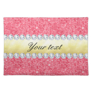Pink Sequins Gold Foil and Diamonds Cloth Placemat