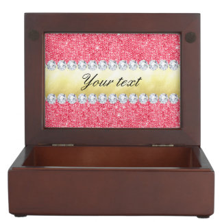 Pink Sequins Gold Foil and Diamonds Memory Box