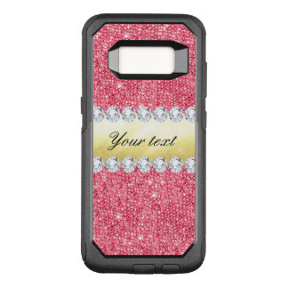 Pink Sequins Gold Foil and Diamonds OtterBox Commuter Samsung Galaxy S8 Case