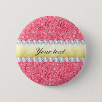 Pink Sequins Gold Foil and Diamonds Pinback Button
