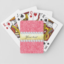 Pink Sequins Gold Foil and Diamonds Playing Cards