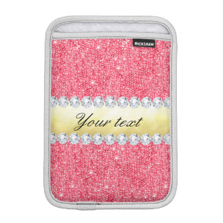 Pink Sequins Gold Foil and Diamonds Sleeve For iPad Mini