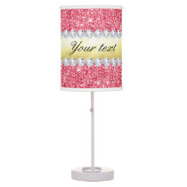 Pink Sequins Gold Foil and Diamonds Table Lamp