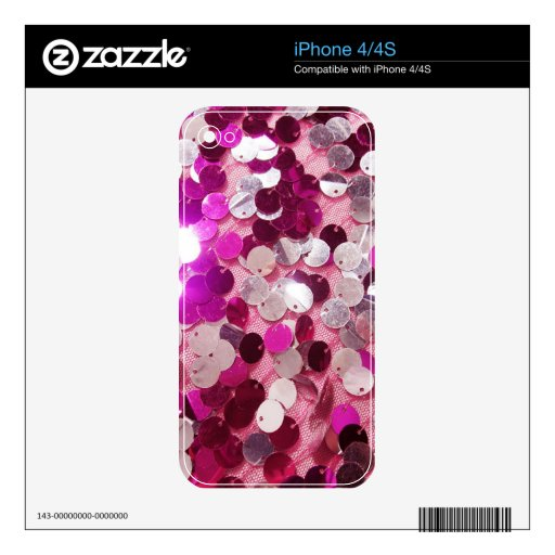 Pink Sequins Sparkles Fashion Customize w/ Text iPhone 4 Skins