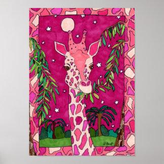 Pink Serengeti Giraffe Folk Art Poster