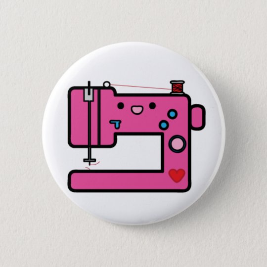 pink sewing machine pinback button