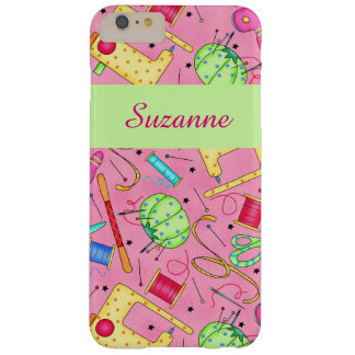 Pink Sewing Notions Art Name Personalized Barely There iPhone 6 Plus Case