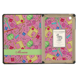 Pink Sewing Notions Art Name Personalized iPad Mini Case