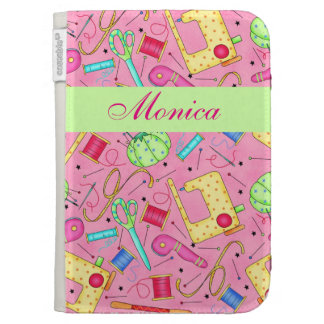 Pink Sewing Notions Art Name Personalized Kindle Case