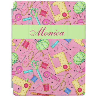 Pink Sewing Notions Art Name Personalized iPad Cover