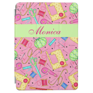 Pink Sewing Notions Art Name Personalized iPad Air Cover