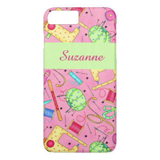 Pink Sewing Notions Art Name Personalized iPhone 7 Plus Case