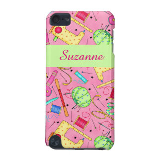 Pink Sewing Notions Art Name Personalized iPod Touch (5th Generation) Cover