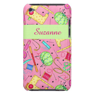 Pink Sewing Notions Art Name Personalized iPod Touch Cover