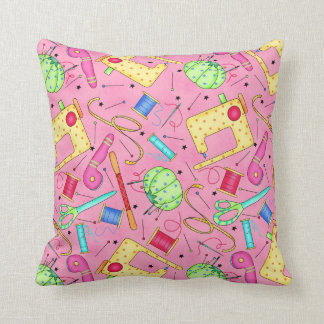 Pink Sewing Notions Decorative Pillow