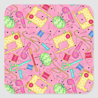 Pink Sewing Notions Sticker