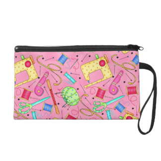 Pink Sewing Notions Wristlet Clutch