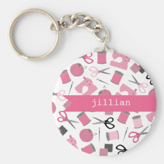 Pink Sewing Personalized Keychain