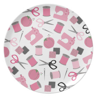 Pink Sewing Themed Melamine Plate