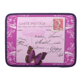 Pink shabby chic French collage postmark stamped Sleeve For MacBook Pro