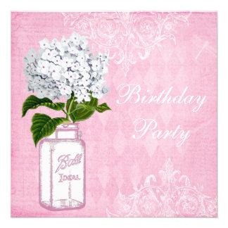 Pink Shabby Chic Jar Hydrangea Birthday Party Invitations