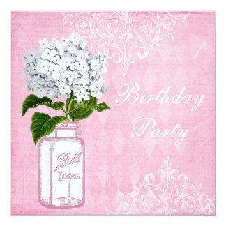Pink Shabby Chic Jar & Hydrangea Birthday Party Invitations