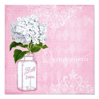 Pink Shabby Chic Jar & Hydrangea Quinceanera Card