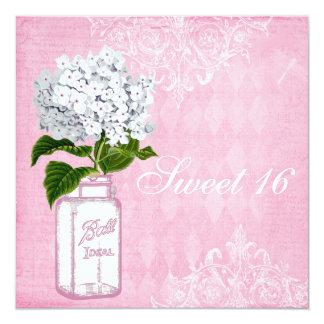Pink Shabby Chic Jar & Hydrangea Sweet 16 Custom Invitation