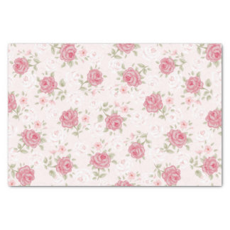 """Pink,shabby chic,vintage,floral,victorian,white, 10"""" x 15"""" tissue paper"""