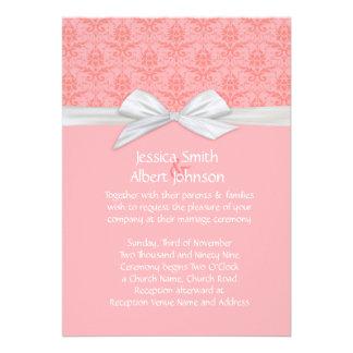 Pink Shabby Damask Wedding Invite