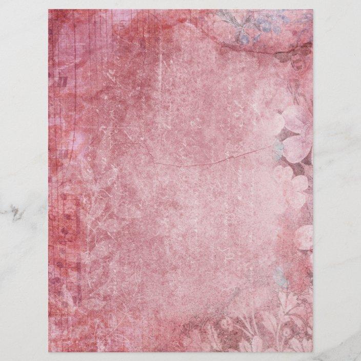 Pink Shabby Vintage Scrapbook Paper Zazzle Com