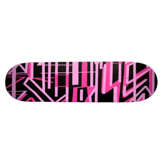 Pink Shades and Lines Skateboard Deck