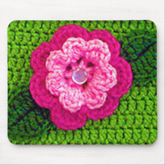 Pink Shades Flower Spring Green Crochet Print on Mouse Pad