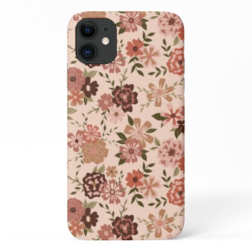 Pink Shades Green Vines Sweet Floral Pattern iPhone 11 Case