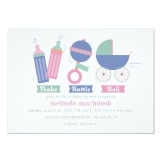 Pink Shake Rattle & Roll Baby Shower Invitation