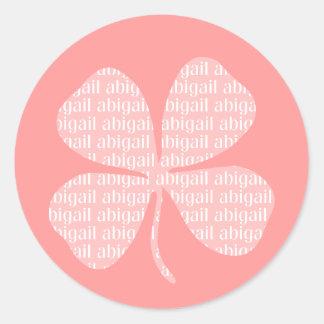 Pink Shamrock Abigail Classic Round Sticker