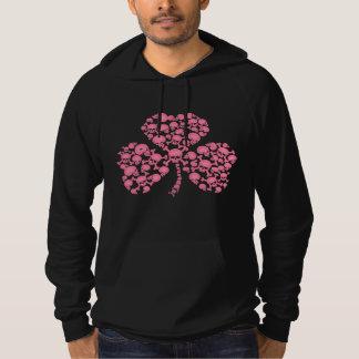 Pink Shamrock Skulls Hooded Sweatshirt