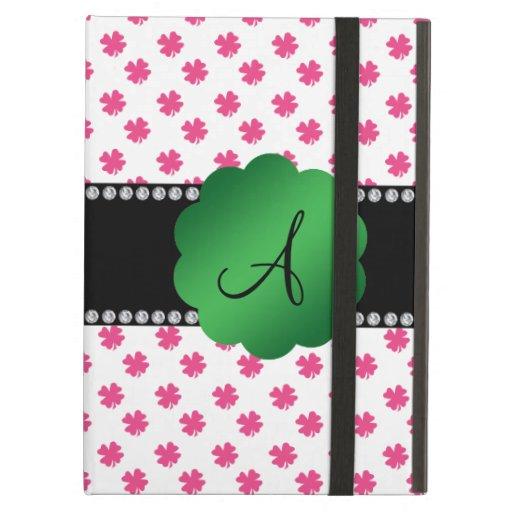 Pink shamrocks monogram iPad cover