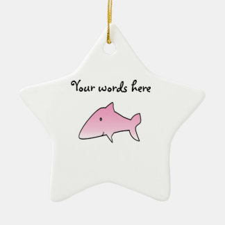 Pink shark Double-Sided star ceramic christmas ornament