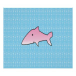 Pink shark in blue bubbles poster