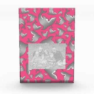 Pink shark pattern acrylic award